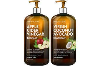 MAJESTIC PURE Apple Cider Vinegar Shampoo and Conditioner Set - Restores Shine & Reduces Itchy Scalp, Dandruff & Frizz - Paraben & Sulphate Free, for All Hair Types, Men and Women - 2 x 470ml
