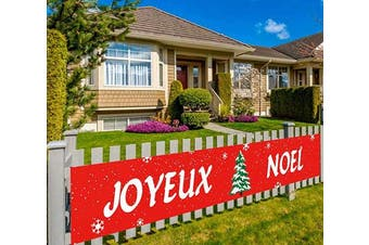 (Joyeux Noel) - Extra Large Christmas Banner, Joyeux Noel Banner, Noel Banner decor, Xmas Party Decorations, Festival Party Supplies, Indoor Outdoor (3m x 0.5m)