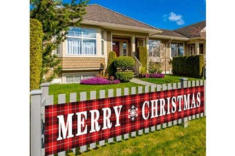 (Merry Christmas-g) - Large Merry Christmas Banner, Red Buffalo Plaid Banner, Christmas Decorations for Outdoor or Indoor, Lumberjack Party Decorations (3m x 0.5m)