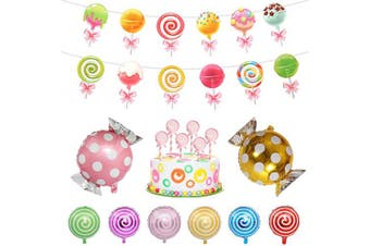 Candyland Banner, Lollipop Banner Candyland Party Supplies Set Lollipop Balloons Candy Cake Topper Candyland Decoration for Girls,Kids,Home,Classroom,Bedroom