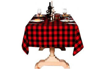 (140cm  x 140cm , Red and Black) - Bettery Home Buffalo Cheque Christmas Tablecloth Cotton Linen Plaid Table Cloth for Christmas Party Wedding Table Decoration (140cm x 140cm , Red & Black)