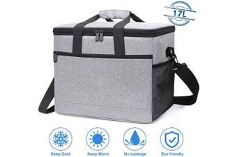 (17L) - NASUM Picnic Bag, Large Insulated Cooler Bag, Meal Container Lunch Bag, Big Capacity Oxford Waterproof with Adjustable Shoulder Strap, for Camping/BBQ/Outdoor Activities, 31.5 * 19 * 28CM,17L(Grey)