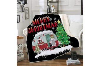 (3) - Womdee Christmas Velvet Throw Blanket, Xmas Fluffy Thick Soft Large Sherpa Throw Blankets, Winter Fuzzy Blanket For Christmas, 3D Printing Santa Sleigh Snowflake Xmas Theme Blankets, 150 X 130cm