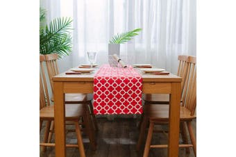 (12 X 108 Table Runner, Red) - NATUS WEAVER 2 Side Quatrefoil Lattice Accent Geometric Table Runner for Morden & Stylish Wedding Holiday Party Decor,Cotton Canvas 30cm x 270cm Suitable for 8-10 People, Red