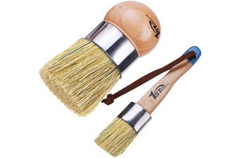 1st Place Products Large Round Palm & Flat Brush Set - Chalk Finish Paint & Wax - All Natural Bristles - Hand Made