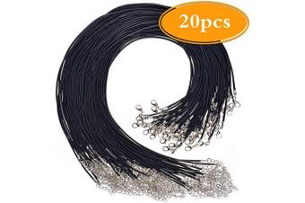 Amaney 20 Pieces 50cm Black Waxed Necklace Cord with Clasp Bulk for Bracelet Necklace and Jewellery Making
