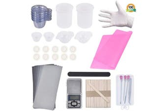 (pink) - 130PCS Resin Starter Kit with Silicone Mixing Cups, Silicone Measuring Cups,Sticks, Silicone Mat, Digital Pocket Scale, Sandpaper, Finger Cots, Stirring Needle Spoon Tool Set for Resin Art (Pink)