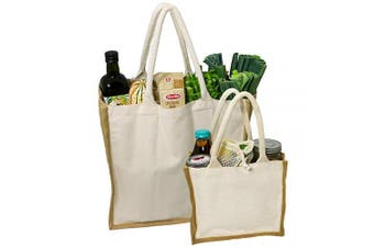 (Natural/Jute XL & Mini - Set of 2) - Simple Ecology Organic Canvas & Jute Reusable Tote and Grocery Shopping Bag - XL & Mini Tote Set of 2 (heavy duty, comfortable & durable handles, foldable, craft & gift bag, handbag)