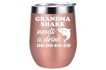 (Rose Gold) - Grandma Gifts - Grandma Shark Needs a Drink - Funny Gifts for Grandma, Grandma Birthday Gifts, Christmas Gifts for Grandma, Great Grandma, Best Grandma, New Grandma Gifts - Coolife Wine Tumbler Mug