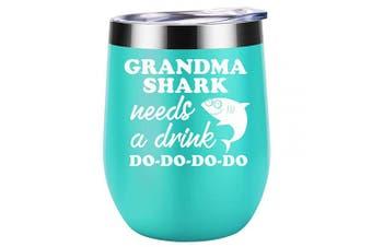 (Mint) - Grandma Gifts - Grandma Shark Needs a Drink - Funny Gifts for Grandma, Grandma Birthday Gifts, Christmas Gifts for Grandma, Great Grandma, Best Grandma, New Grandma Gifts - Coolife Wine Tumbler Mug