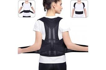 (M) - BASEIN Back Posture Corrector, Adjustable Upper Back Brace Shoulder Spinal Support, Back and Shoulder Posture Brace for Men and Women (Waist Waist 70cm - 90cm , M)
