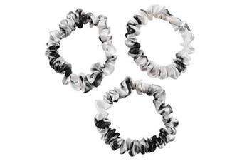 (Small, White Marble) - CELESTIAL SILK Mulberry Silk Scrunchies for Hair (Small, White Marble)