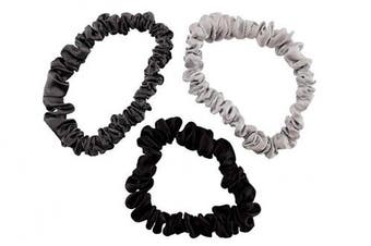 (Small, Silver, Charcoal, Black) - Celestial Silk Mulberry Silk Scrunchies for Hair (Small, Silver, Charcoal, Black)