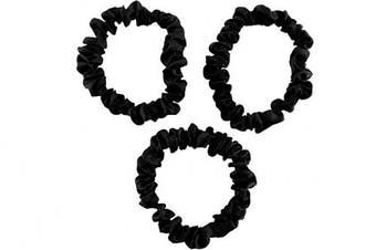 (Small, Black) - CELESTIAL SILK Mulberry Silk Scrunchies for Hair (Small, Black)