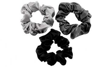 (Large, Silver, Charcoal, Black) - CELESTIAL SILK Mulberry Silk Scrunchies for Hair (Large, Silver, Charcoal, Black)
