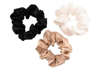 (Large, Ivory, Black, Taupe) - CELESTIAL SILK Mulberry Silk Scrunchies for Hair (Large, Ivory, Black, Taupe)