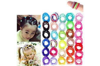 300 Pieces Multicolor Baby Girls Hair Ties No Crease 2cm Hair Bands Ponytail Holders for Baby Girls Infants Toddlers