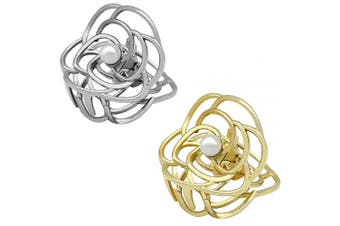 (Rose) - ACCGLORY Rose Flower Metal Hair Clips For Women,Thick Hair Jaw Clips Silver and Gold,2 pcs in set Hair Claw Clip