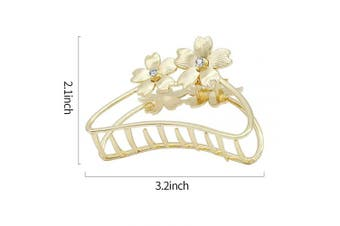 (Golden with Flower) - ACCGLORY Hollow Vintage Metal Hair Clips Hairgrip Strong Claw Clips Clamps Non-Slip Hair Jaw For Women Thick Hair (Golden with Flower)