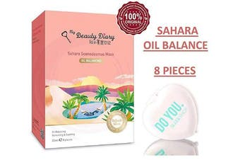 (Sahara Scenedesmus Oil - 8 piece) - My Beauty Diary Facial Sheet Mask (with Sleek Compact Mirror) #1 Selling Face Mask in Asia, Super Ultra-Thin Masque (Sahara Scenedesmus Oil - 8 piece)