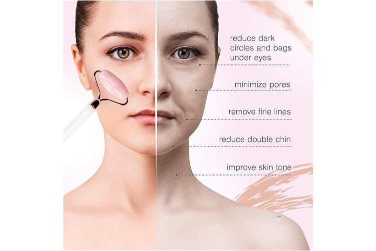 Visagisto Real Rose Quartz Face Roller Massager for Face, Neck, Under Eyes, Nose - Healthy Skin - Anti Ageing - Alleviates Wrinkles, Puffiness - Genuine Natural Crystal Gemstone
