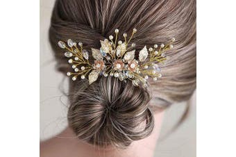 Barode Bride Wedding Hair Pins Gold Flower Leaves Headpieces Rhinestones Bridal Hair Accessories for Women and Girls