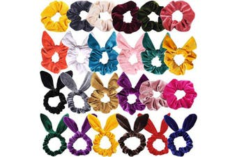 24PCS Velvet Scrunchies Rabbit Bunny Ears Bow Knotted Scrunchies Elastic Hair Ties Ponytail Holders Hair Accessories for Girls Women Teens