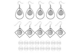 (mix 12mm) - Chuyau 316 Stainless Steel 12mm Bezel Earring Blanks Round Bezel Pendant with 20pcs Transparent Glass Cabochons for DIY Jewellery Making(40pcs)