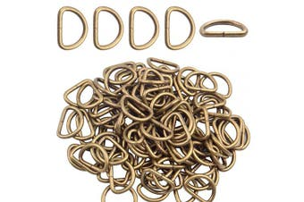 (1.3cm , bronze) - BronaGrand 100 Pieces 1.3cm Metal Bronze D Ring Buckles D-Ring Loop for Handbag Purse Clothes DIY Accessories