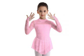 (Pink, 7-8Years) - Agoky Girls Long Sleeves Floral Lace Figure Ice Roller Skating Dress Ballet Dancewear