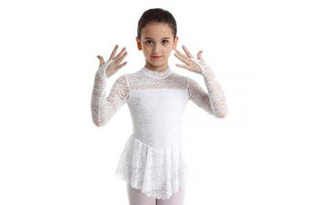 (White, 7-8Years) - Agoky Girls Long Sleeves Floral Lace Figure Ice Roller Skating Dress Ballet Dancewear