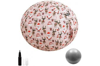 (55 cm, Christmas) - Guken Sitting Ball Chair with Cover, Exercise Yoga Ball for Office and Home Muscle Training Fitness,65cm/75cm Workout Ball with Pump and Handle