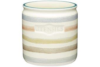 KitchenCraft Classic Collection Striped Ceramic Kitchen Utensil Holder – Cream