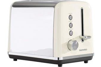 (Cream 2 Slice Toaster) - Daewoo SDA1582 Usage-220-240V, 50-60Hz, 680-810W-6 Browning Settings | Led Indicator | Cancel, Reheat, Defrost Removable Crumb Tray | Cord Storage | Anti-Jam Function, Cream 2 Slice Toaster
