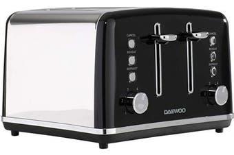 (Black 4 Slice Toaster) - Daewoo SDA1586, 220 W, Black 4 Slice Toaster