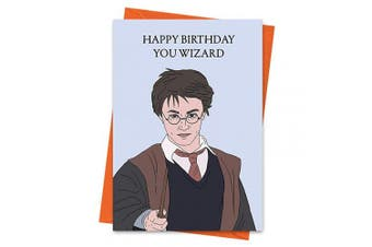 Funny Birthday Card, Harry Potter Inspired Birthday Card, Wizard Card, Hogwarts Card - Happy Birthday You Wizard Greeting Card