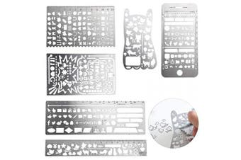 OwnMy 6 Pcs of Metal Bookmark Stainless Steel Hollow Ruler, Multifunctional Journal Stencil DIY Drawing Kit for Diary Planner Scrapbook Notebook Drawing Graphics Template