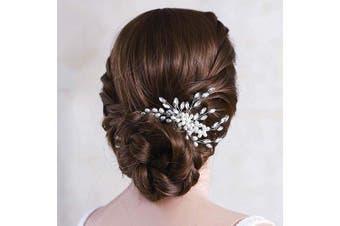 (Silver) - Asooll Wedding Crystal Hair Comb Bride Pearl Hair Piece Bridal Hair Accessories for Women and Girl (Silver)