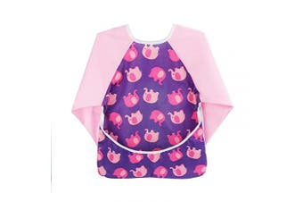 (Pink Elephant) - Toddler Baby Smock Waterproof Long Sleeve Bib with Pockets, 6-24 months