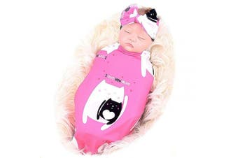 (cat) - Galabloomer Newborn Receiving Blanket Headband Set Baby Swaddle Mother and Baby