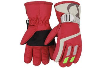 (Red) - 7-Mi Kids Winter Warm Gloves For Skiing/Cycling Children Mittens For 4 To 8 Years Old
