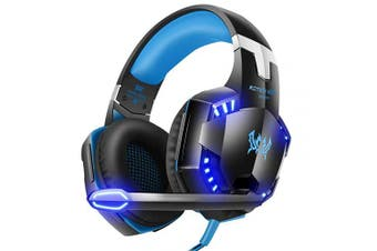 (Blue) - VersionTECH.Gaming headset for Xbox One PS4 PC,USB Headphones with Microphone,LED Light & Noise Cancelling & Surround bass Stereo for 3DS Nintendo Switch Gamers Games accessories (Blue)