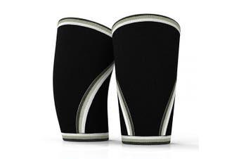 (Large, Black) - AVIDDA Knee Compression Sleeve Weightlifting Men Women (1 Pair) 7mm Neoprene Knee Brace Support for Powerlifting Squat Crossfit Training Lifting Bodybuilding
