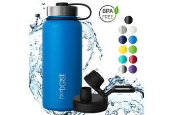 (Ocean Blue | Blau, 530ml) - 720°DGREE Thermo Water Bottle noLimit – 410ml, 530ml, 710ml, 950ml 1200ml | Insulated Stainless Steel Flask + Free Sports Cap