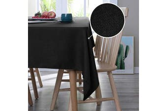 (140cm  x 210cm , Black) - Deconovo Decorative Solid Tablecloth Wrinkle and Water Resistant Spill Proof Tablecloths Rectangular Tables 140cm x 210cm Black