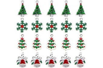 Christmas Tree Snowflake Jingle Bell Enamel Charm Pendant Christmas Theme Collections Jewellery DIY Making Crafting Accessories for Necklace Bracelet Earring(20 Pcs Assorted)