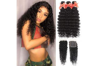 (10 12 14 +10) - Brazilian Deep Wave Human Hair Bundles with Closure Unprocessed Virgin Human Hair Deep Curly Bundles with Free Part Lace Closure Natural Black(10 12 14 +10)