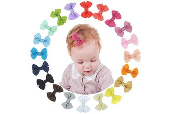 XCOZU Hair Bows,20 Colours Ribbon Hair Bows Clips Bow Hair Pins Hair Slides Bows with Alligator Clips Children Girls Hair Accessories for Baby Little Girls Kids Toddlers(6.1cm )