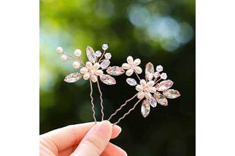 (Rose gold) - Simsly Bride Crstal Wedding Hair Pins Silver Hair Clips Bridal Headpiece Hair Accessories Pearl for Women and Girls (Rose gold)