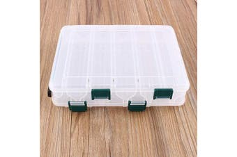 Nikou Tackle Box - 12 Compartments Tackle Plastic Storage Box Fishing Case Lure Box Tackle Two-Sided Storage Case